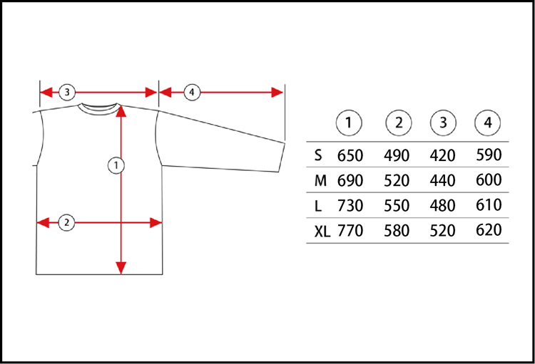 PrintStarTeeサイズ表